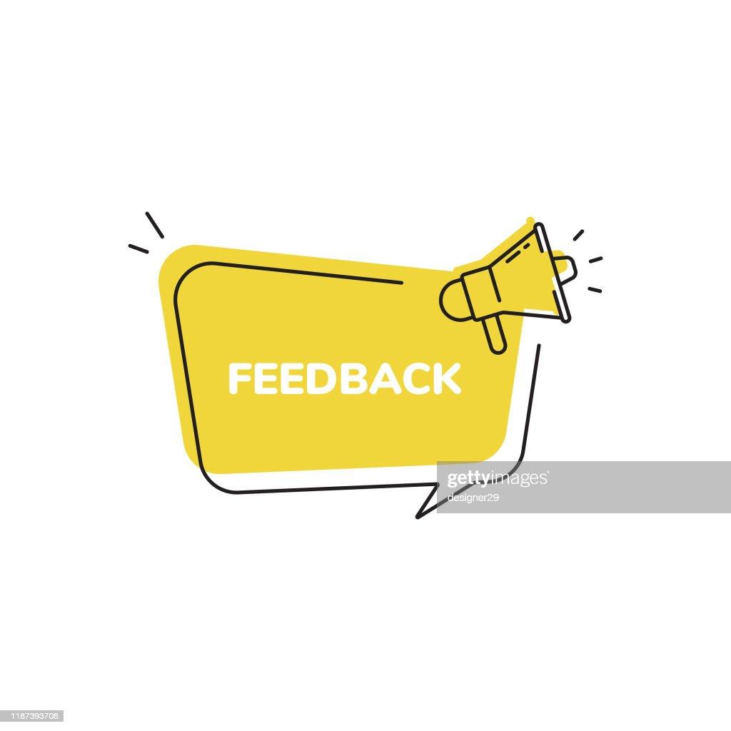 Icona feedback, badge suggerimenti rapidi e megafono Bolla vocale Design piatto moderno. : Illustrazione stock