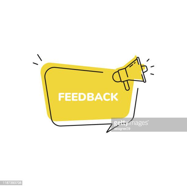feedback icon, quick tips badge and megaphone speech bubble modern flat design. - information medium stock illustrations