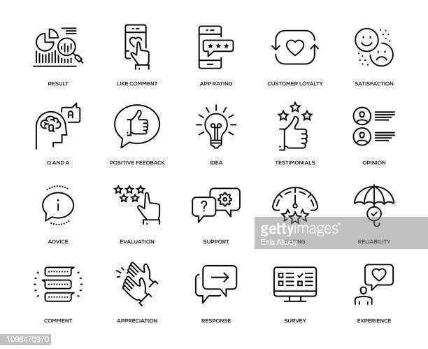 stockillustraties, clipart, cartoons en iconen met feedback icon set - tevreden