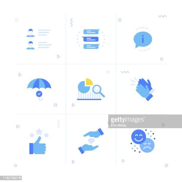 feedback icon set - testimonial stock illustrations, clip art, cartoons, & icons