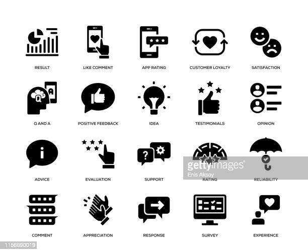 feedback icon set - rating stock illustrations