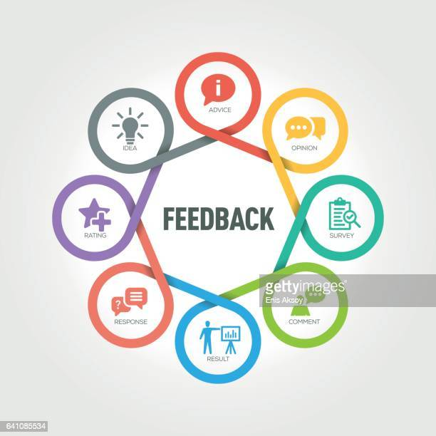 Feedback infographic with 8 steps, parts, options