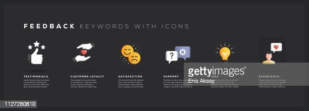 feedback keywords with icons - customer focused stock illustrations