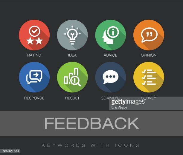 feedback keywords with icons - rating stock illustrations