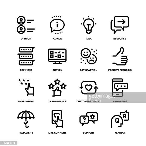 feedback line icons - consumerism stock illustrations