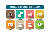 Feedback Marketing Flat Icon Set