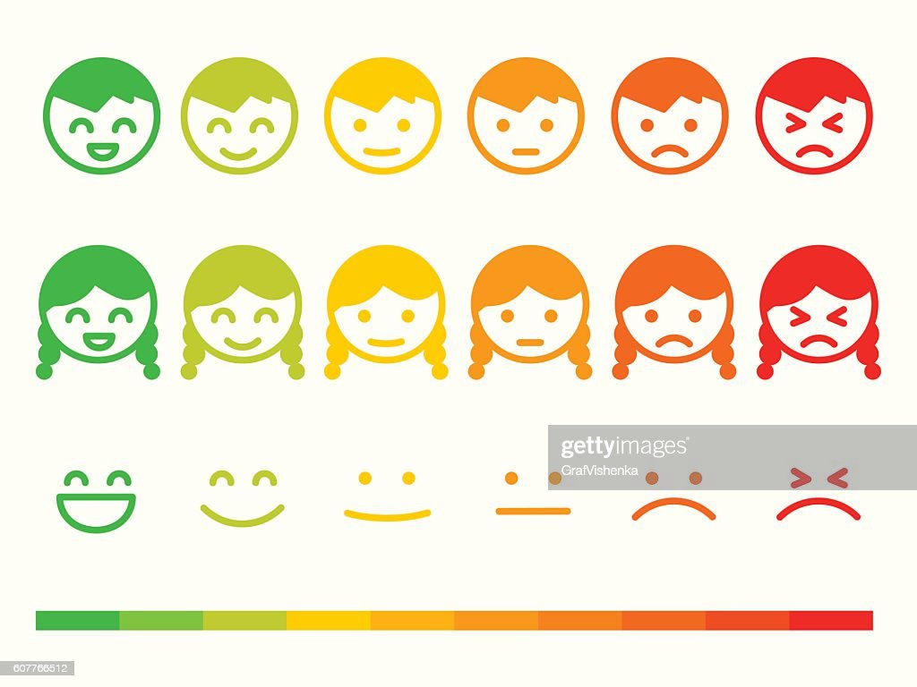 Feedback rate emoticon icon set. Emotion smile ranking bar