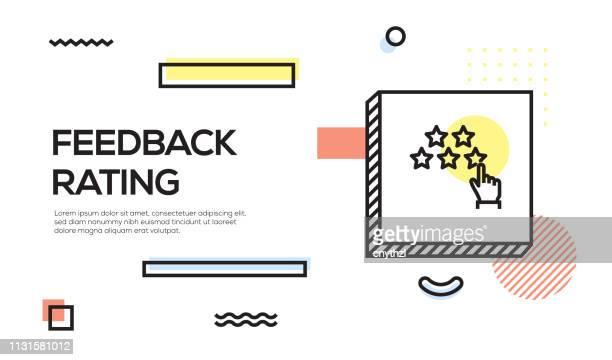 feedback rating concept. geometric retro style banner and poster concept with feedback rating icon - adulation stock illustrations, clip art, cartoons, & icons