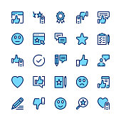 Feedback, recommendation, testimonials, customer review line icons set. Modern graphic design concepts, simple symbols, linear stroke web elements, pictograms collection. Minimal thin line design. Premium quality. Pixel perfect. Vector outline icons