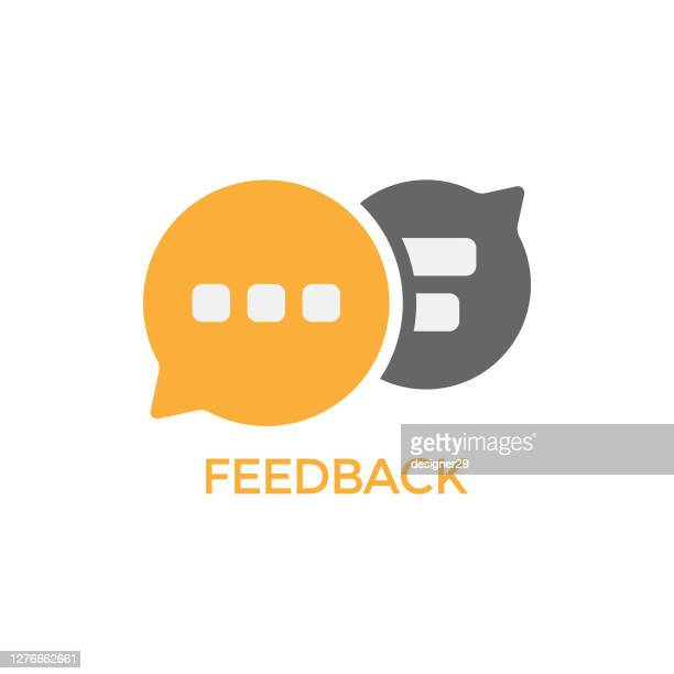 feedback speech bubble icon vector design. - discussion stock illustrations