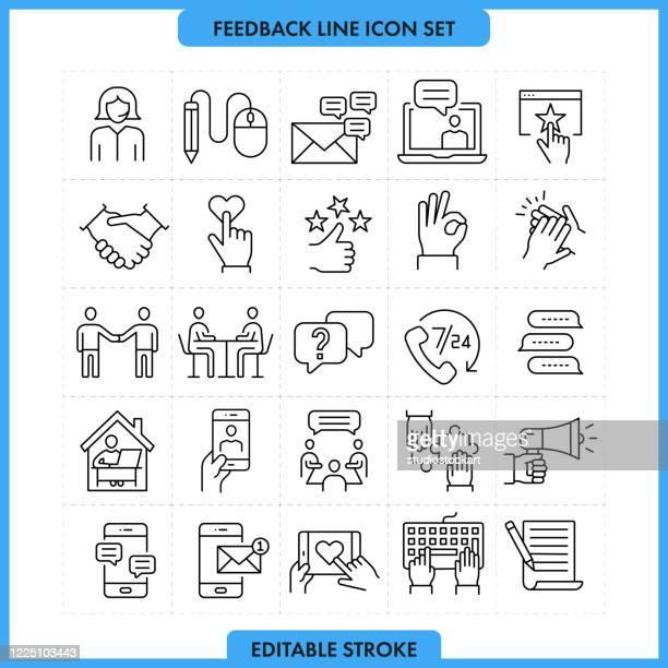 illustrations, cliparts, dessins animés et icônes de feedback thin line icon set. accident vasculaire cérébral modifiable - satisfaction