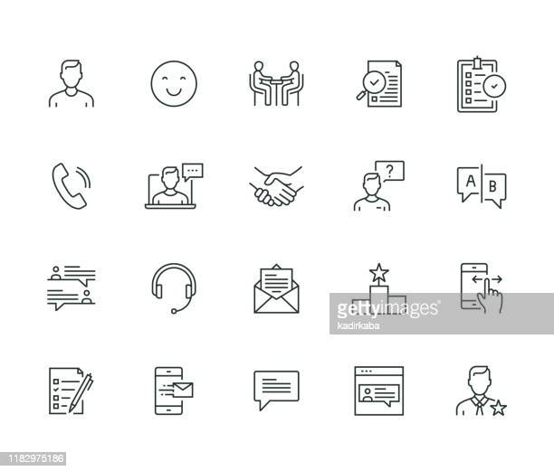 stockillustraties, clipart, cartoons en iconen met feedback thin line serie - wetenschap