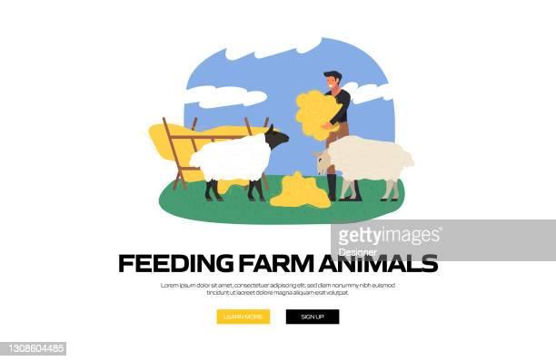 webサイトバナー、広告・マーケティング資料、オンライン広告、ビジネスプレゼンテーション等のための養餌家畜コンセプトベクターイラストレーション - スマート農業点のイラスト素材/クリップアート素材/マンガ素材/アイコン素材