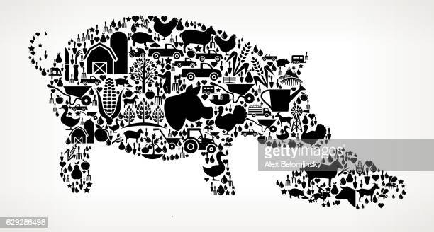 Feeding Pig Farming and Agriculture Black Icon Pattern