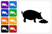 Feeding Pig Icon Square Button Set