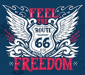Feel the freedom. Route 66. Hand drawn vintage illustration