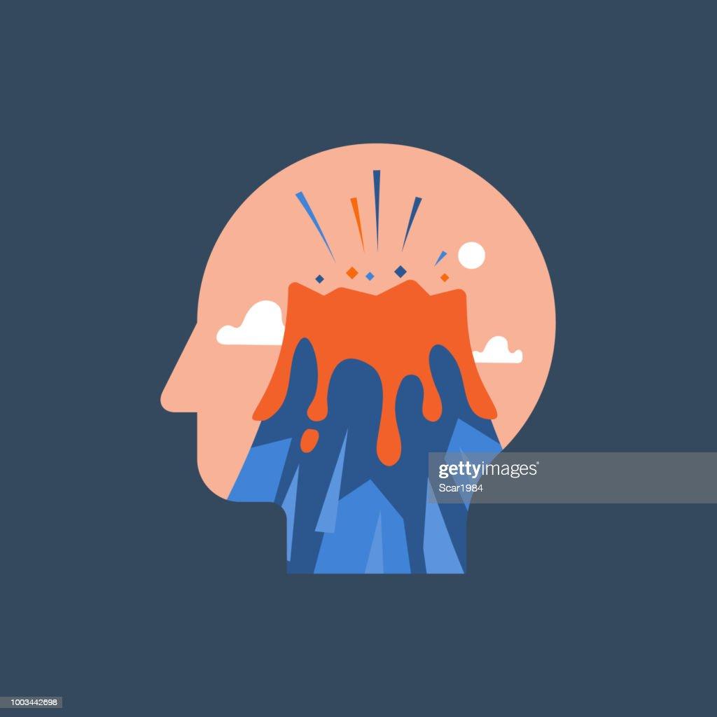 Gefühl psychische Anspannung, destruktive Gedanken, erleben Stress, Panikattacke, hysterischen Verhalten, Vulkanausbruch im Kopf : Stock-Illustration