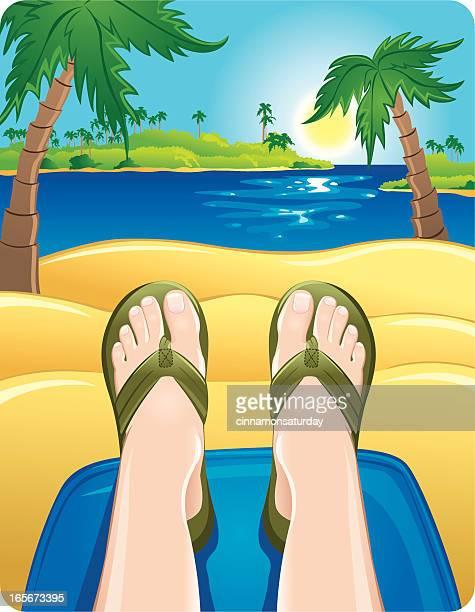 illustrations, cliparts, dessins animés et icônes de pieds de détente à la plage - être étendu