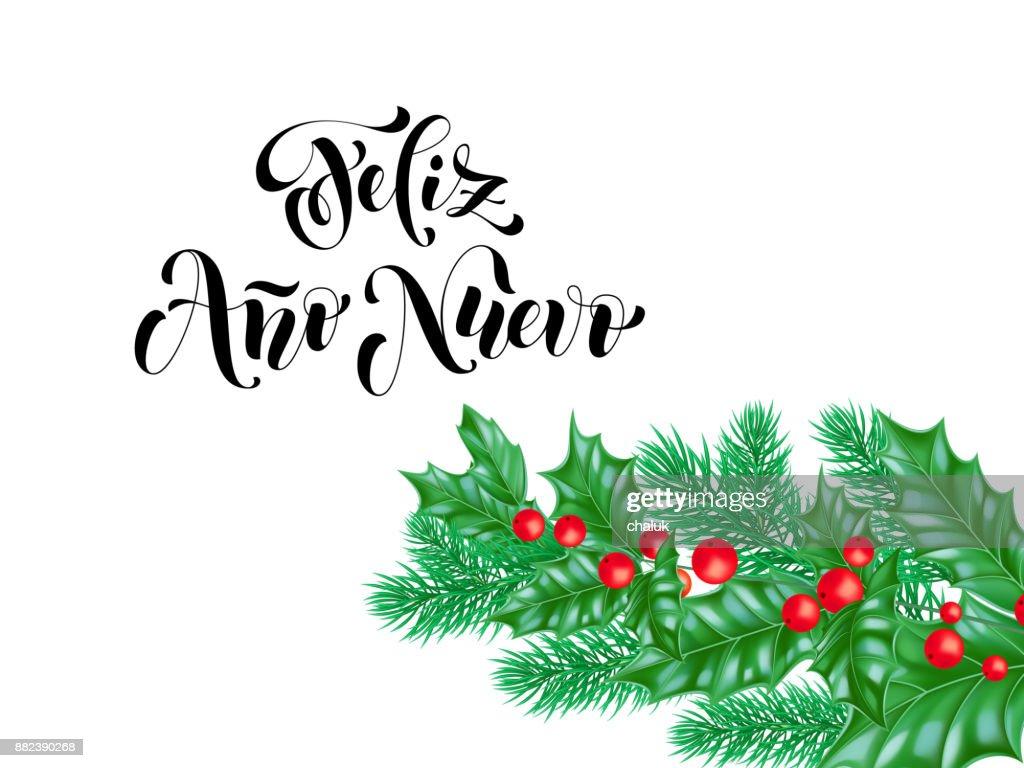 Feliz ano nuevo spanish happy new year holiday hand drawn quote feliz ano nuevo spanish happy new year holiday hand drawn quote calligraphy lettering greeting card background m4hsunfo