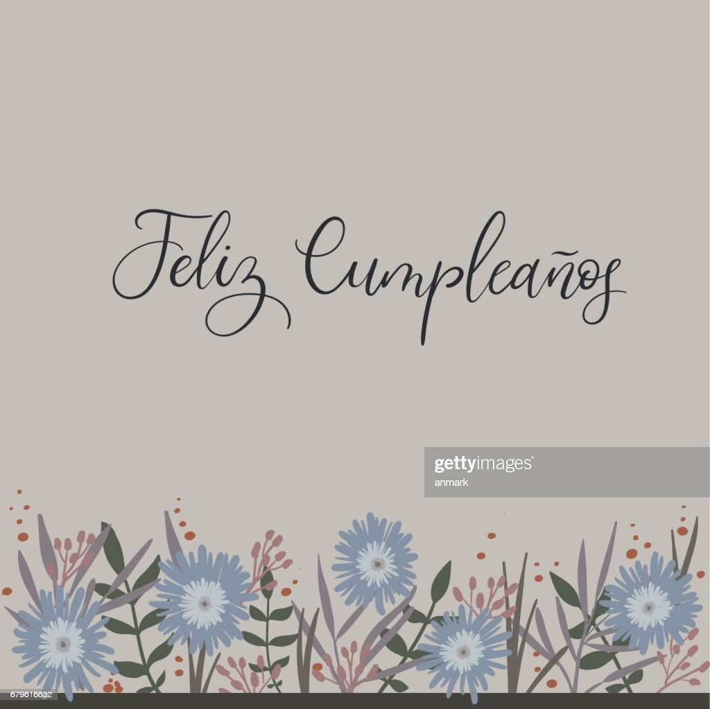 Feliz Cumpleanos Happy Birthday In Spanish Calligraphy Greeting Card