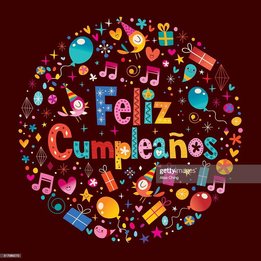 gefeliciteerd met je verjaardag in het spaans Feliz Cumpleanos Gelukkige Verjaardag IN Het Spaans Stock Vector  gefeliciteerd met je verjaardag in het spaans