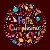 van harte gefeliciteerd in het spaans Feliz Cumpleanos Gelukkige Verjaardag IN Het Spaans Stock Vector  van harte gefeliciteerd in het spaans