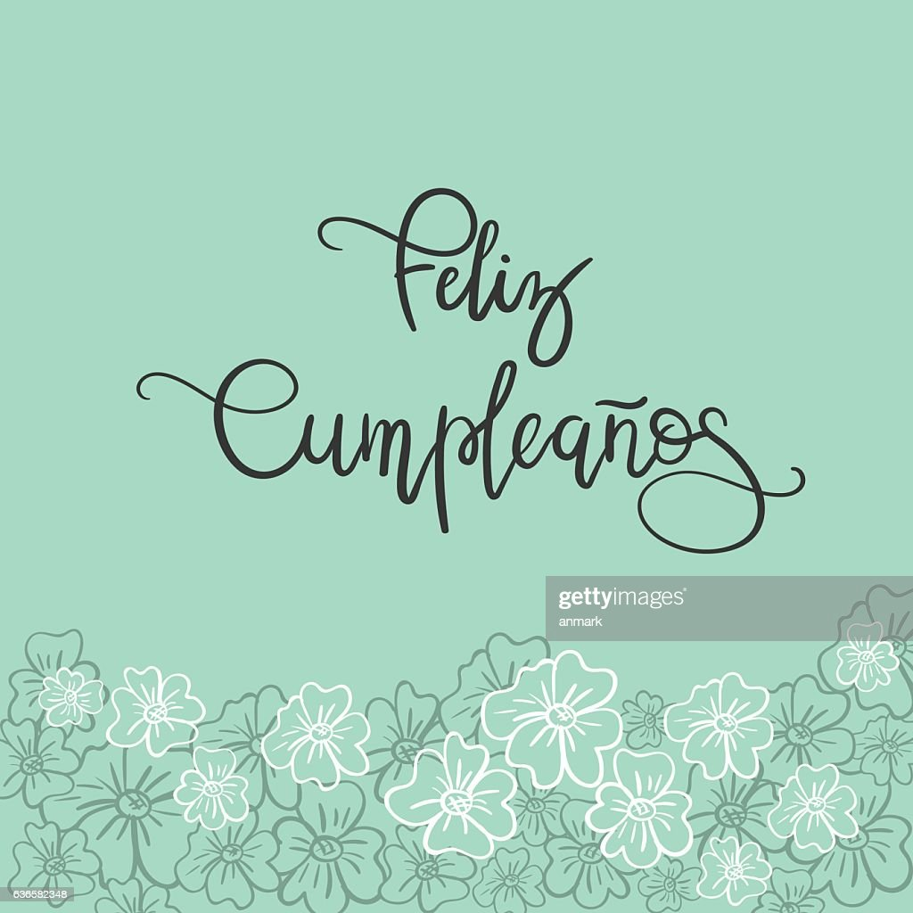 Feliz Cumpleanos Happy Birthday Spanish Text Greeting Card Vector