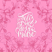 Feliz Dia De La Madre vector hand lettering on decorative leaves background. Translation from Spanish Happy Mothers Day.