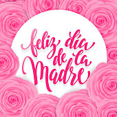 Feliz dia de Madre greeting card. Pink red floral pattern.