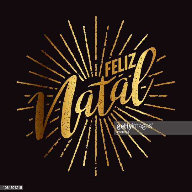 ilustrações, clipart, desenhos animados e ícones de feliz natal portugese sunburst de folha de ouro - natal