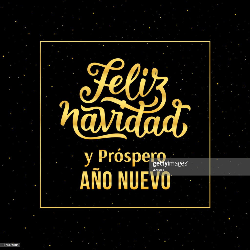 Feliz navidad e prospero ano nuevo 2018 spanish text happy new year feliz navidad e prospero ano nuevo 2018 spanish text happy new year and merry christmas vector greeting card with gold typography text and glitters on m4hsunfo