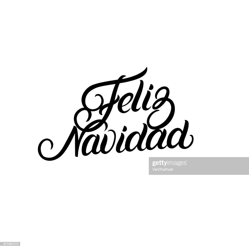 Feliz Navidad hand lettering for greeting card design template.