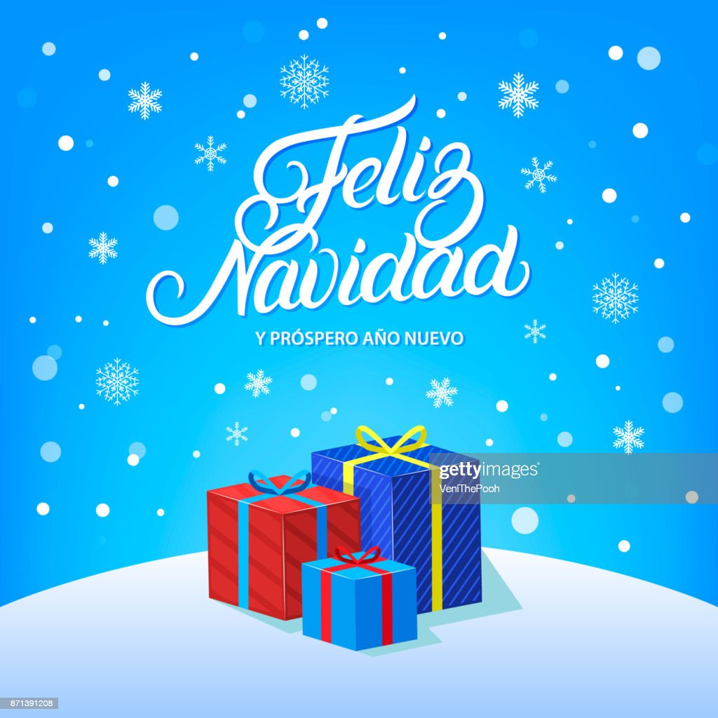 Feliz Navidad hand written lettering design with falling snow, snowflakes and gifts.
