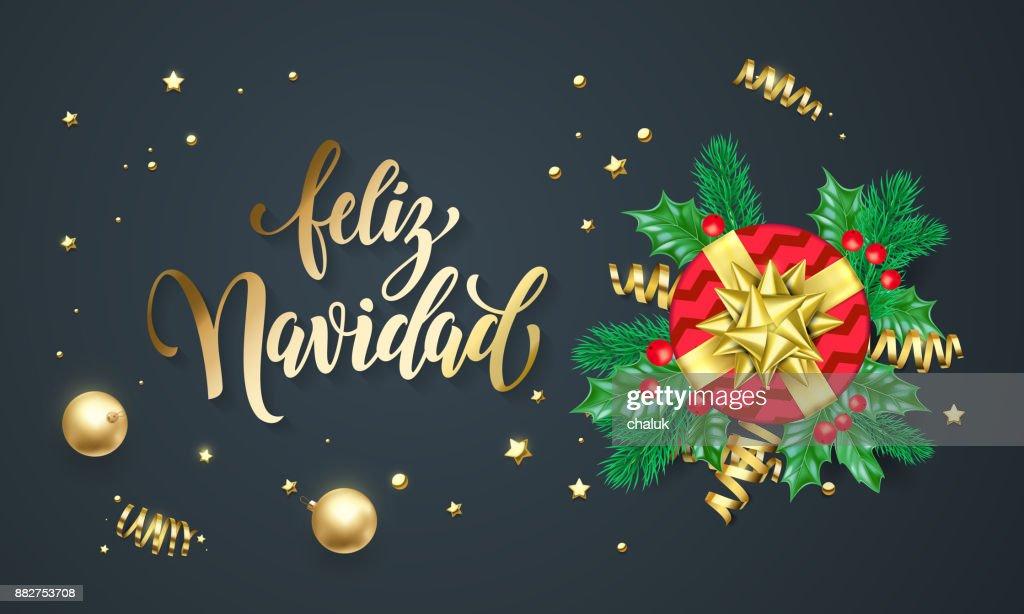 Feliz Navidad Espagnol Joyeux Noel Or Or Et Decoration Police