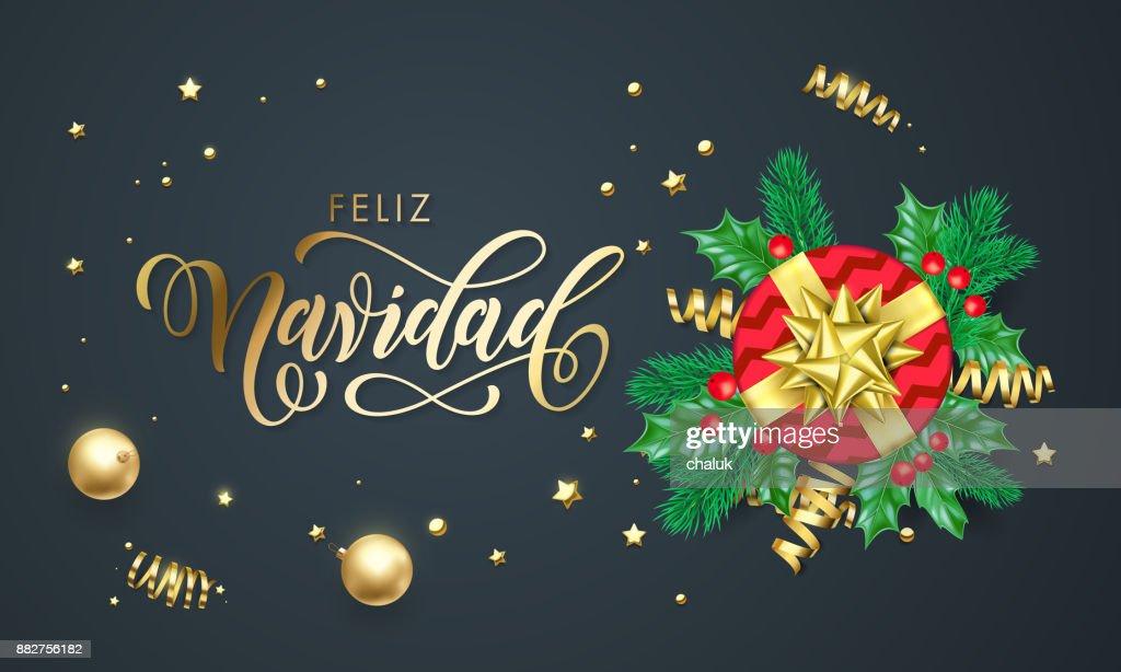 Feliz navidad spanish merry christmas golden decoration and gold feliz navidad spanish merry christmas golden decoration and gold font calligraphy greeting card design vector m4hsunfo