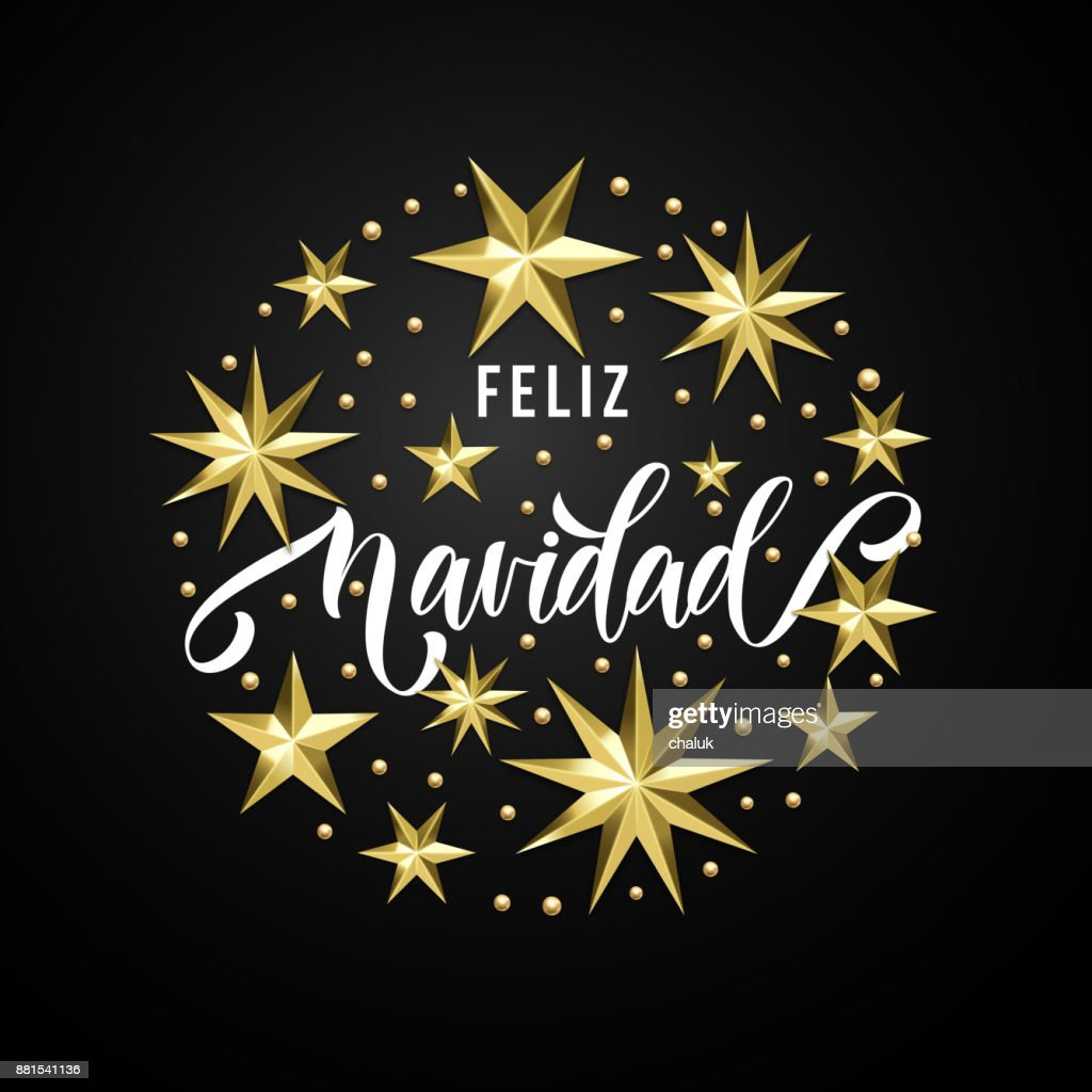 Feliz Navidad Spanish Merry Christmas Golden Star Decoration ...