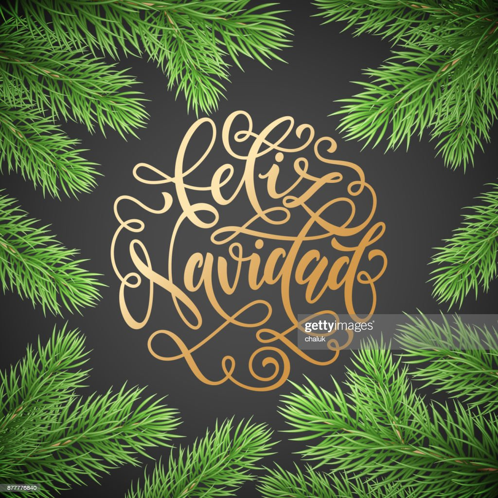 Feliz Navidad Spanish Merry Christmas Holiday Golden Hand Drawn