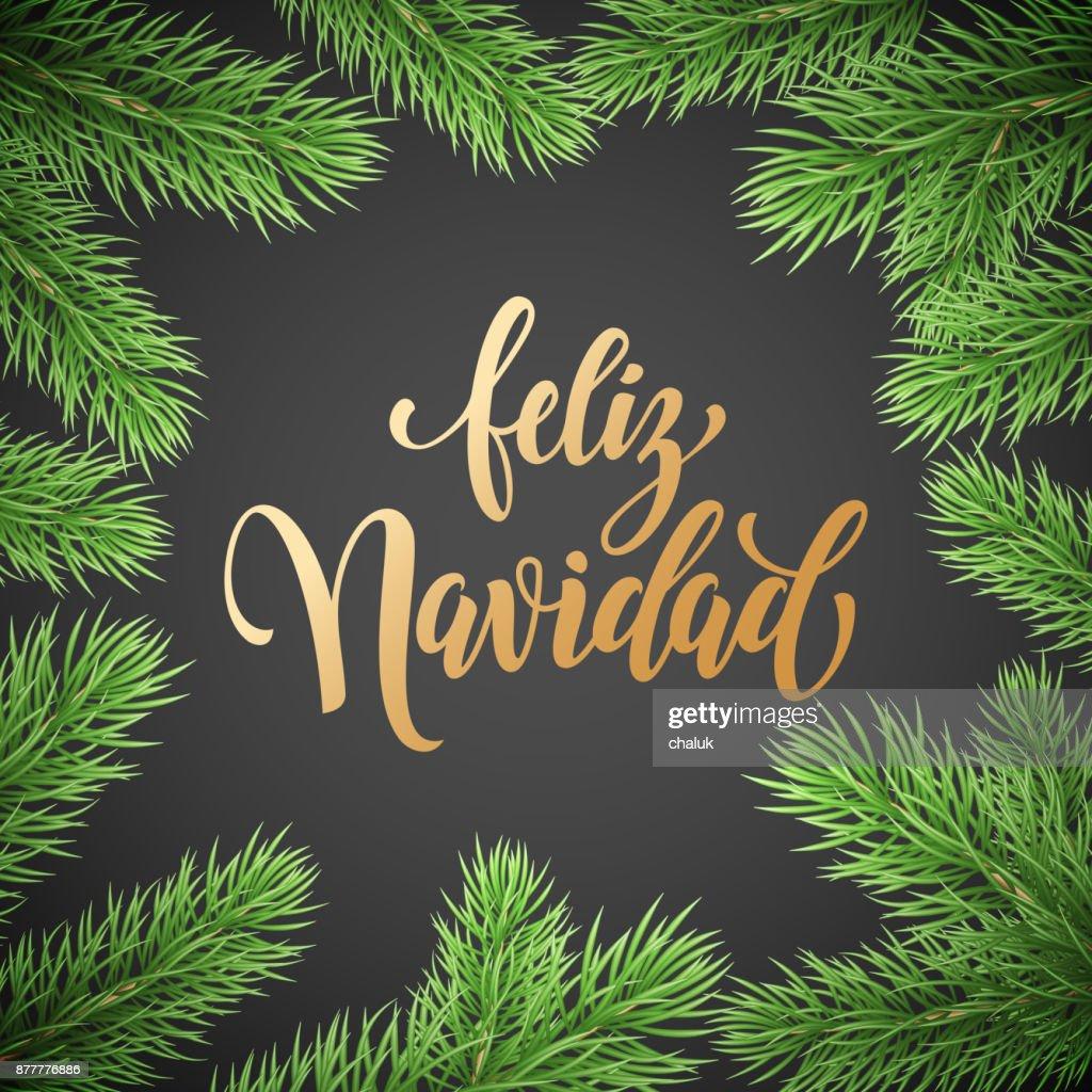 Feliz navidad spanish merry christmas holiday golden hand drawn feliz navidad spanish merry christmas holiday golden hand drawn calligraphy text for greeting card of wreath m4hsunfo