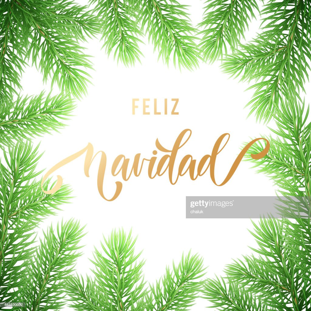 feliz navidad spanish merry christmas holiday golden hand drawn calligraphy text for greeting card of wreath