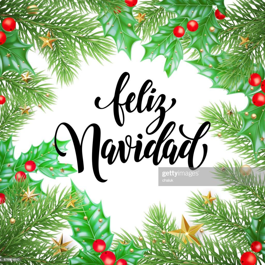 Feliz navidad spanish merry christmas holiday hand drawn calligraphy feliz navidad spanish merry christmas holiday hand drawn calligraphy text for greeting card of wreath decoration m4hsunfo