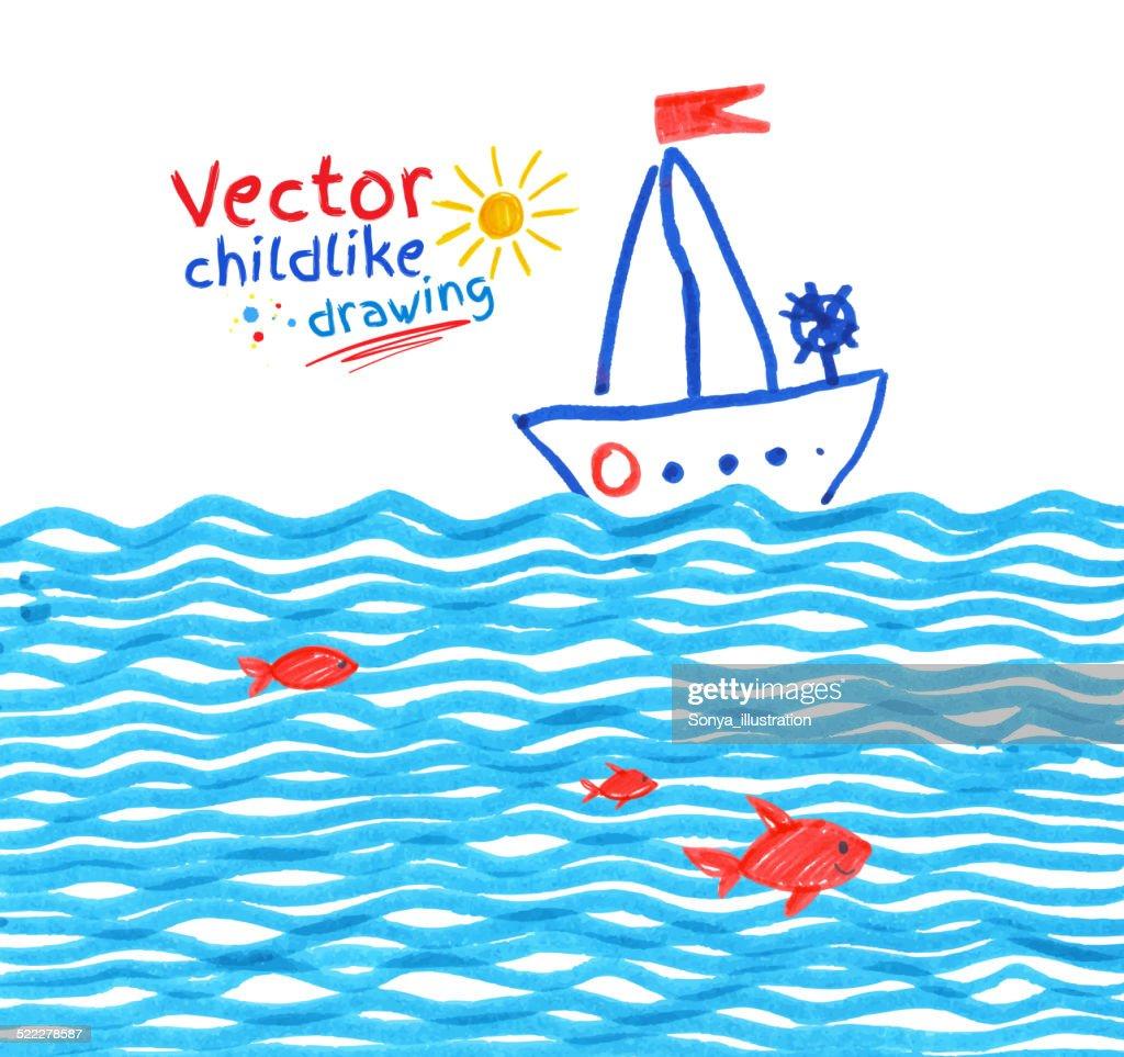 Felt pen childlike drawing of seaside.