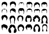Female and male hair vector hairstyle silhouette icons style