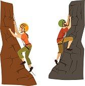 female and male mountain climbers.