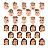female and male pixelated emoticon set