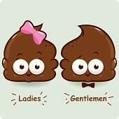 Female and male shit characters. Poop toilet signs