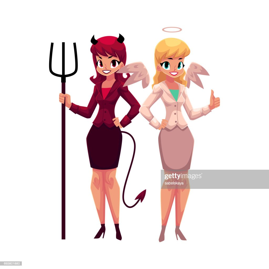 Female angel and devil in business suits, decision making concept
