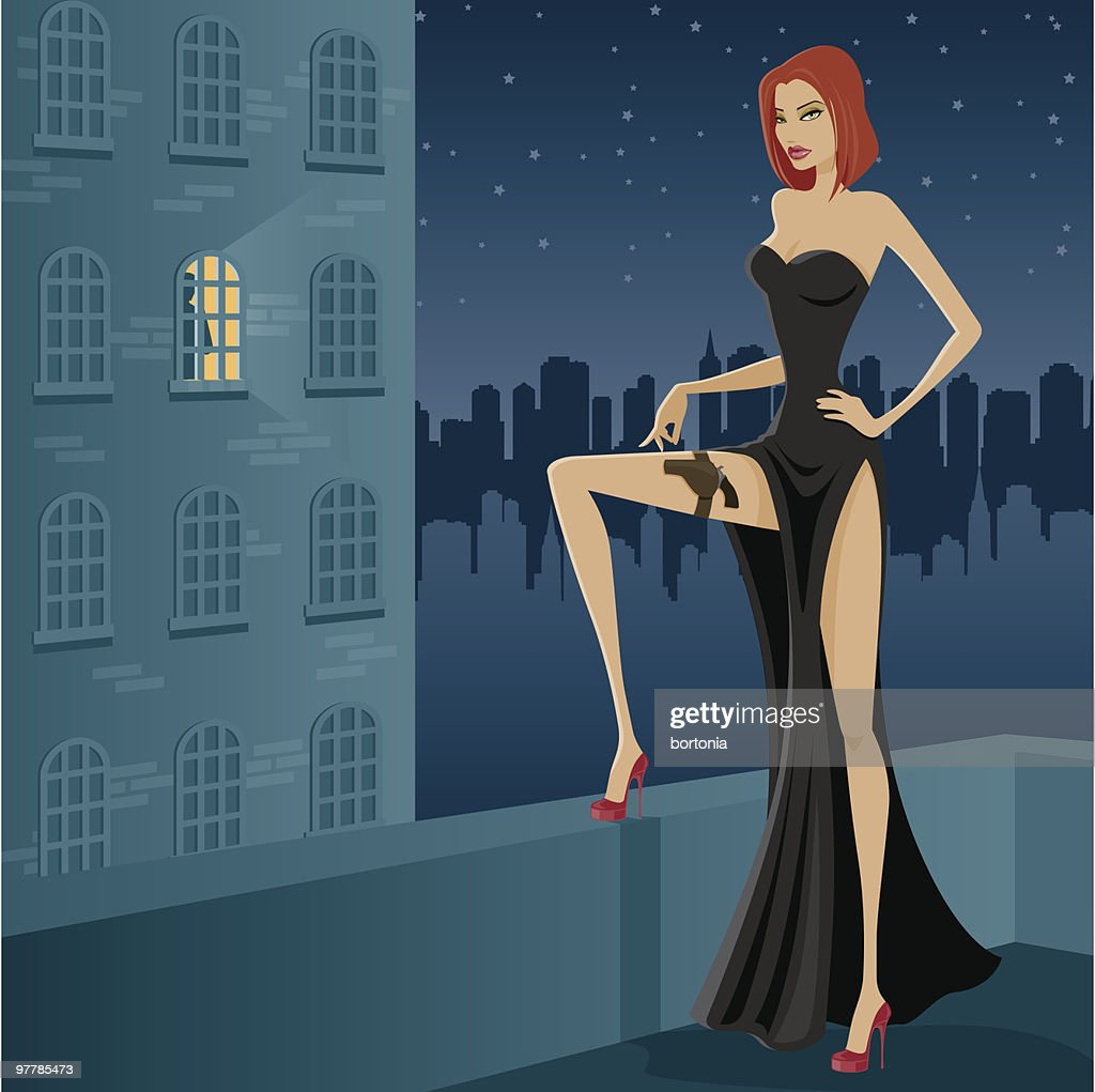 Female Assassin in Black Gown on Rooftop at Night : stock illustration