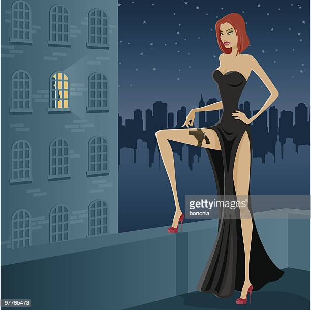 female assassin in black gown on rooftop at night - architectural feature stock illustrations, clip art, cartoons, & icons
