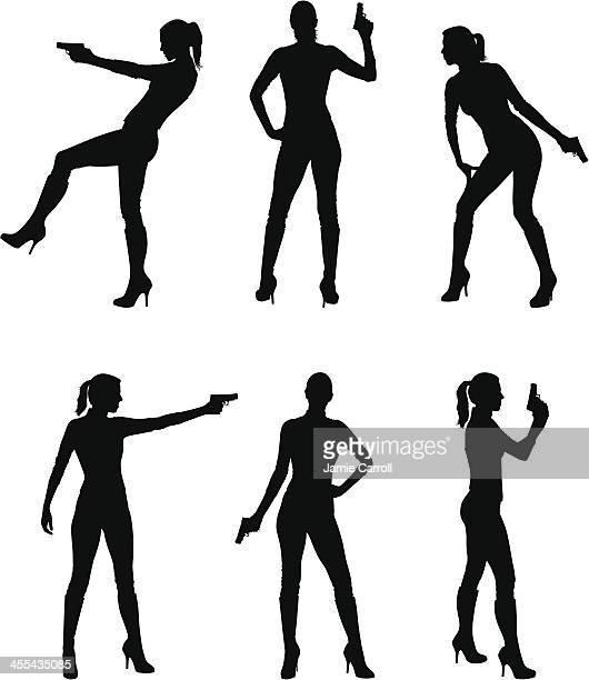 Female assassin silhouettes