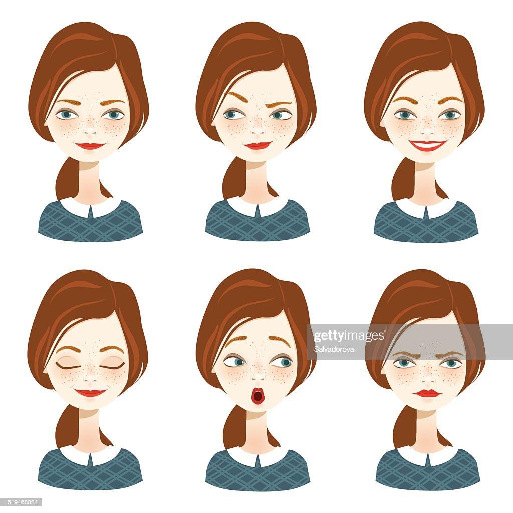 Female avatar expression set - Illustration